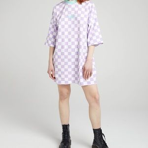 Ragged Oversized T-Shirt In Lilac Checkerboard